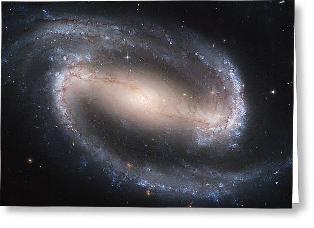 Glow Pyrography Greeting Cards - Spiral galaxy NGC1300 Greeting Card by Celestial Images