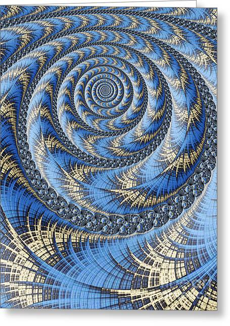 Web Digital Art Greeting Cards - Spiral in Blue Greeting Card by John Edwards