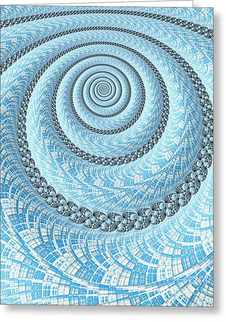 Spiral Greeting Cards - Spiral in Light Blue Greeting Card by John Edwards