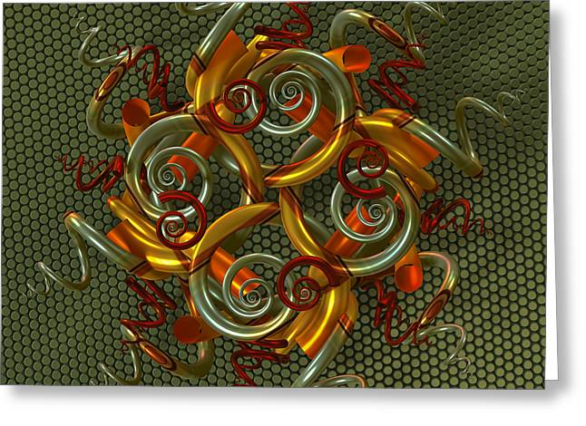Algorithmic Abstract Greeting Cards - Spiral Jewel II Greeting Card by Manny Lorenzo
