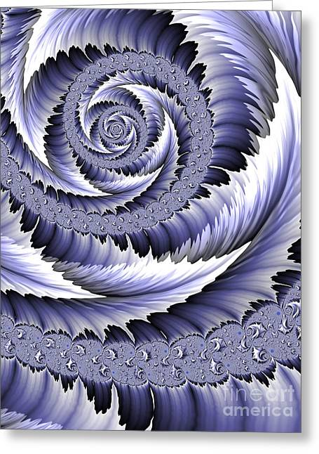 Web Digital Art Greeting Cards - Spiral Leaf Abstract Greeting Card by John Edwards