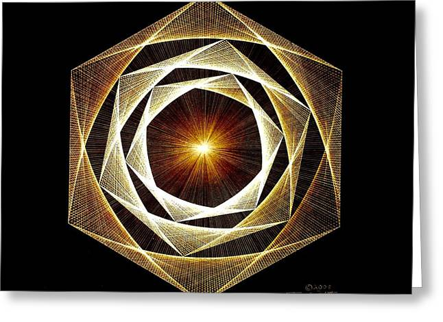 Hand Greeting Cards - Spiral Scalar Greeting Card by Jason Padgett