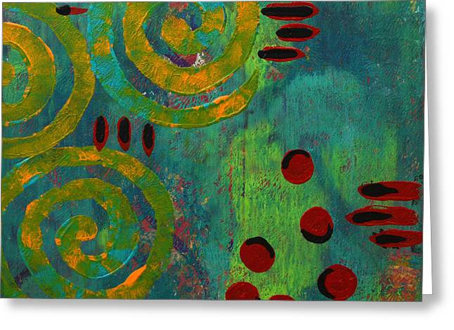 Vibrant Green Mixed Media Greeting Cards - Spiral Series - Adamant Greeting Card by Moon Stumpp