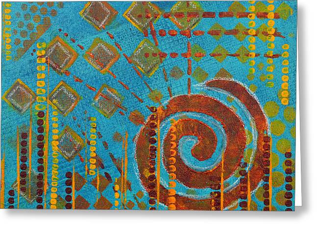Vibrant Green Mixed Media Greeting Cards - Spiral Series - Amalgam Greeting Card by Moon Stumpp