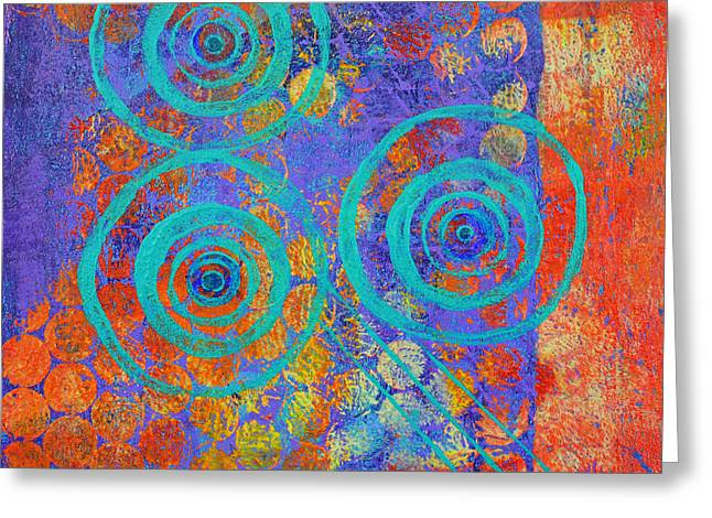 Playful Mixed Media Greeting Cards - Spiral Series - Inroads Greeting Card by Moon Stumpp