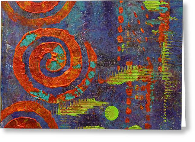 Vibrant Green Mixed Media Greeting Cards - Spiral Series - Mirth Greeting Card by Moon Stumpp