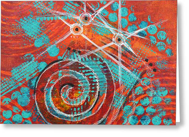 Spirals Greeting Cards - Spiral Series - Missive Greeting Card by Moon Stumpp