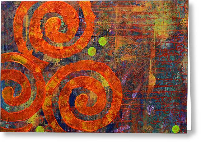 Fine Mixed Media Greeting Cards - Spiral Series - Railing Greeting Card by Moon Stumpp