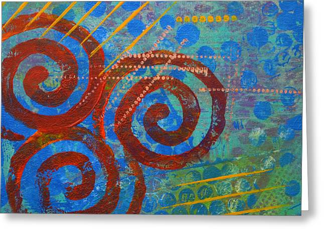Vibrant Green Mixed Media Greeting Cards - Spiral Series - Stance Greeting Card by Moon Stumpp