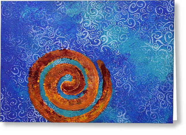 Spiral Series - Waterspiral Greeting Card by Moon Stumpp