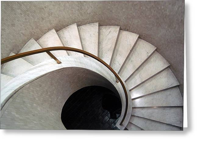Modernism Photographs Greeting Cards - Spiral Stair - Denys Lasdun Greeting Card by Peter Cassidy