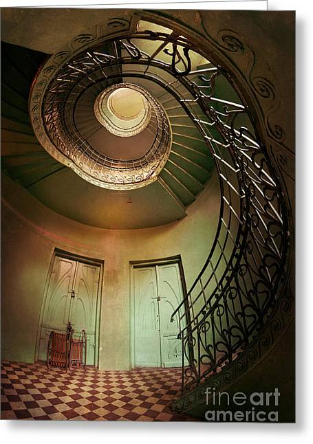 Sledge Greeting Cards - Spiral staircaise with two doors Greeting Card by Jaroslaw Blaminsky