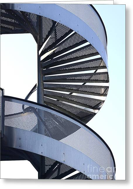 Spiral Staircase Photographs Greeting Cards - Spiral staircase Greeting Card by Bernard Jaubert