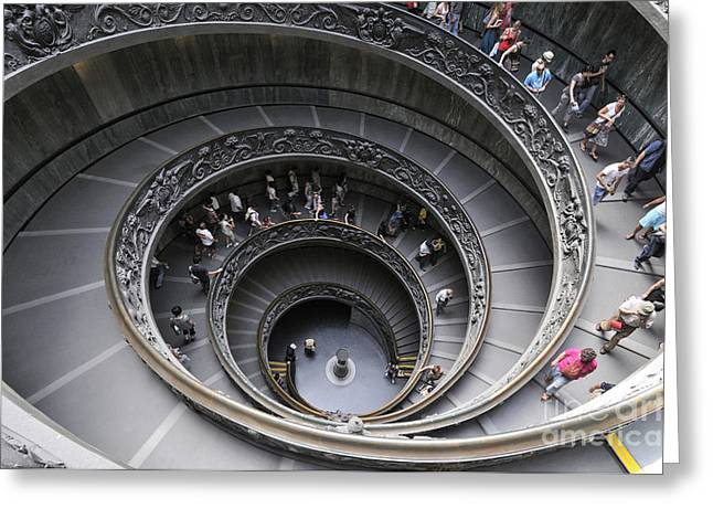 Descend Greeting Cards - Spiral staircase by Giuseppe Momo at the Vatican Museum. Rome. Italy Greeting Card by Bernard Jaubert