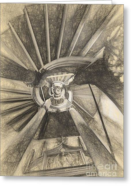 Spiral Staircase Drawings Greeting Cards - Spiral staircase Greeting Card by Carsten Reisinger