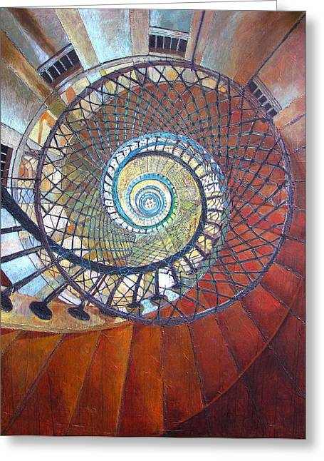 Spiral Staircase Paintings Greeting Cards - Spiral Staircase Greeting Card by Elizabeth D