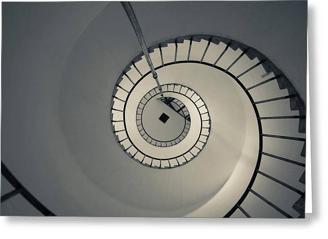Spiral Staircase Photographs Greeting Cards - Spiral Staircase In A Lighthouse, Cabo Greeting Card by Panoramic Images
