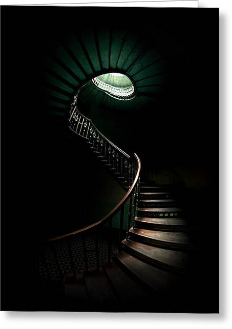 Shining Down Greeting Cards - Spiral staircase in cold tones Greeting Card by Jaroslaw Blaminsky
