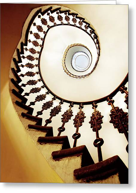 Helix Greeting Cards - Spiral staircase in warm colours Greeting Card by Jaroslaw Blaminsky
