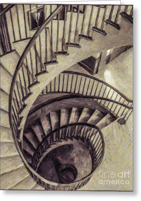 Spiral Staircase Greeting Card by Liz Leyden