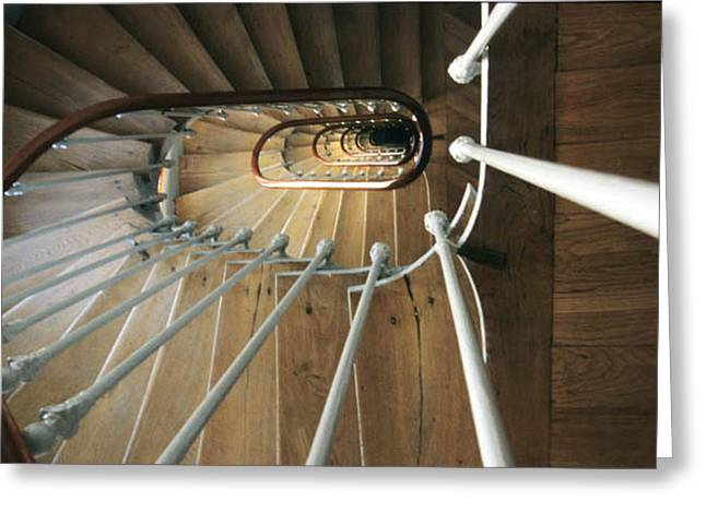Wooden Stairs Greeting Cards - Spiral Staircase - Paris Greeting Card by Harold E McCray