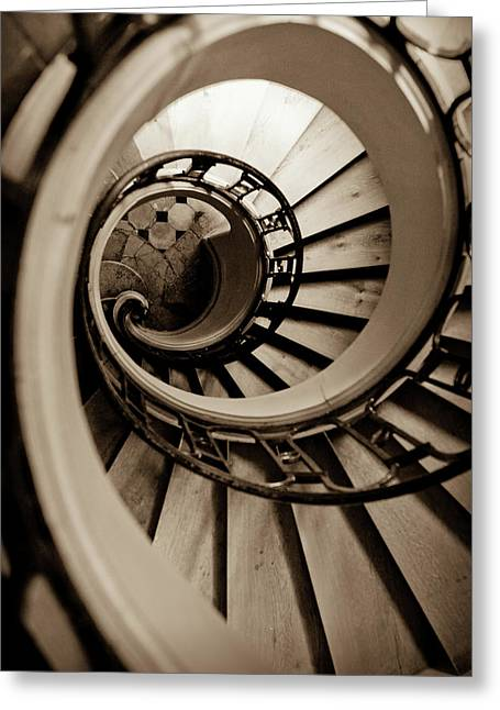 Wooden Stairs Greeting Cards - Spiral Staircase Greeting Card by Sebastian Musial
