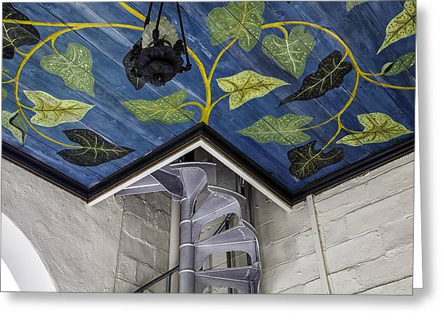 Spiral Stairs And Mural Greeting Card by Lynn Palmer