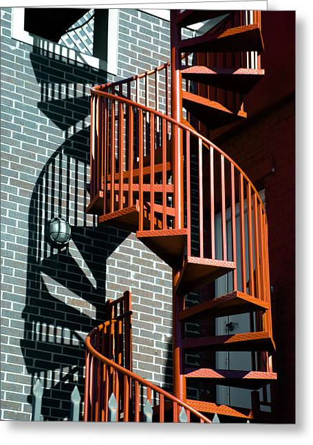 Spiral Staircase Photographs Greeting Cards - Spiral Stairs - color Greeting Card by Darryl Dalton