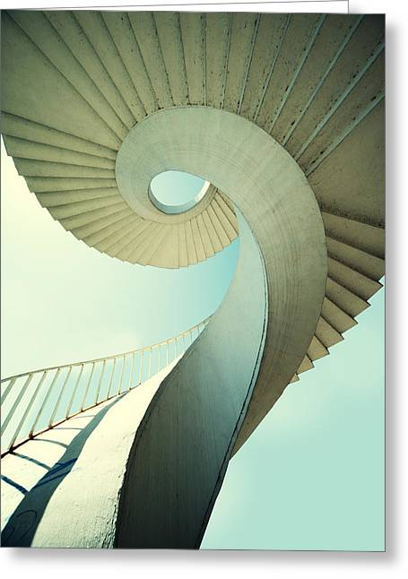 Going Down Greeting Cards - Spiral stairs in pastel tones Greeting Card by Jaroslaw Blaminsky