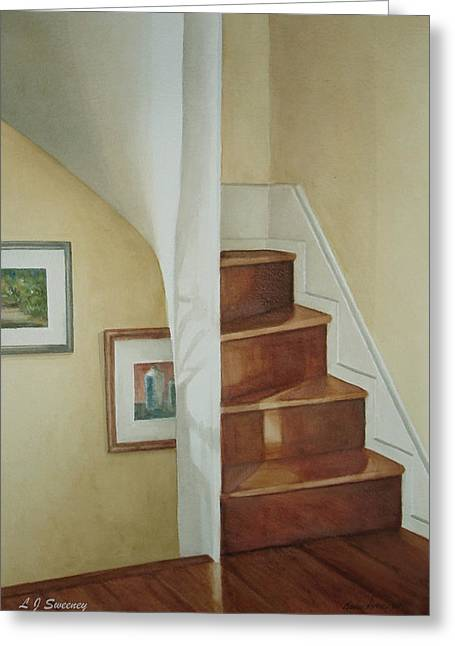 Spiral Staircase Paintings Greeting Cards - Spiral Stairs Greeting Card by Lauren Sweeney