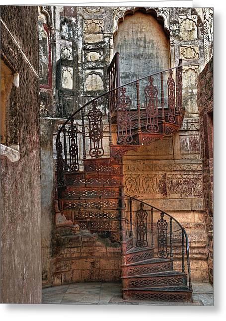 Spiral Stairs, Mehrangarh Fort Greeting Card by Adam Jones