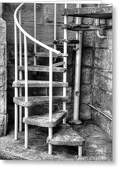 Spiral Staircase Greeting Cards - Spiral Steps - Old Sandstone Church Greeting Card by Kaye Menner