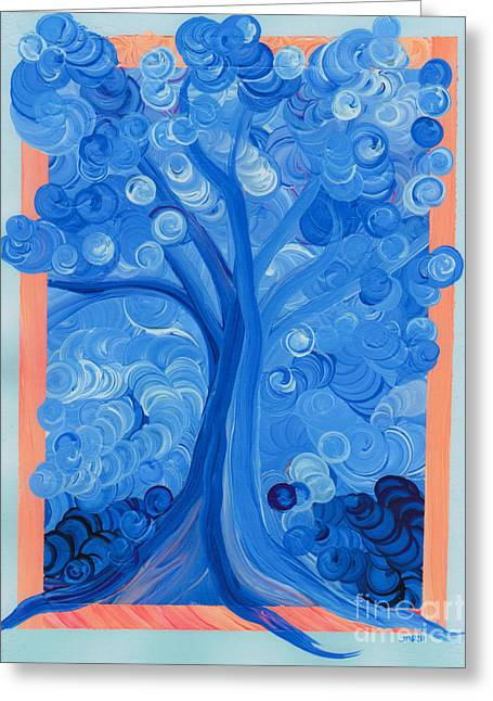 Spiral Tree Winter Blue Greeting Card by First Star Art