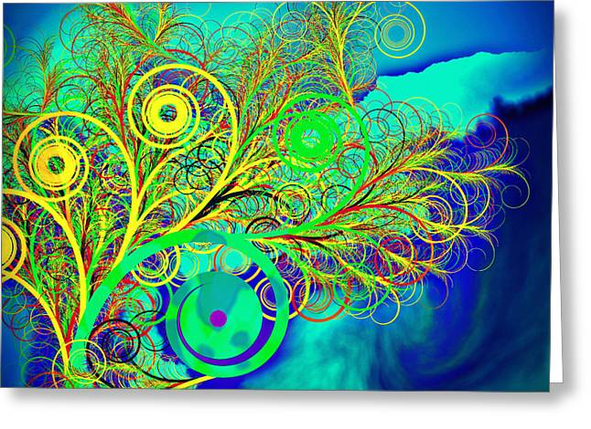 Spiral Tree With Blue Background Greeting Card by GuoJun Pan