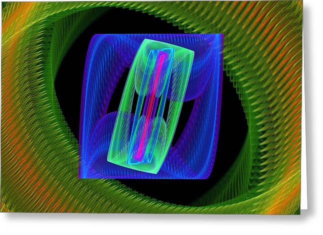 Digital Flower Greeting Cards - Spiral Vortex Green And Blue Fractal Flame Greeting Card by Keith Webber Jr