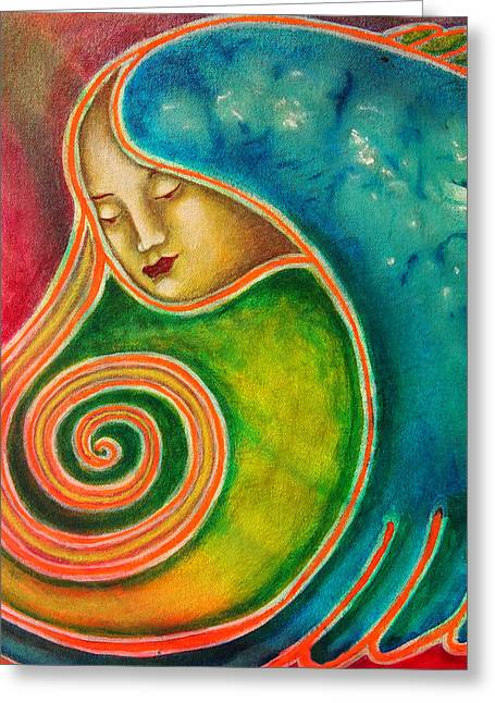 Merging Paintings Greeting Cards - Spiraling Inward Greeting Card by Annette Wagner