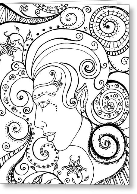 Organic Drawings Greeting Cards - Spiraling Out of Control Greeting Card by Shawna  Rowe