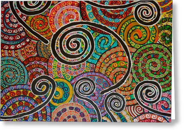 Unwind Paintings Greeting Cards - Spiralitis Greeting Card by Trisha  La Comber