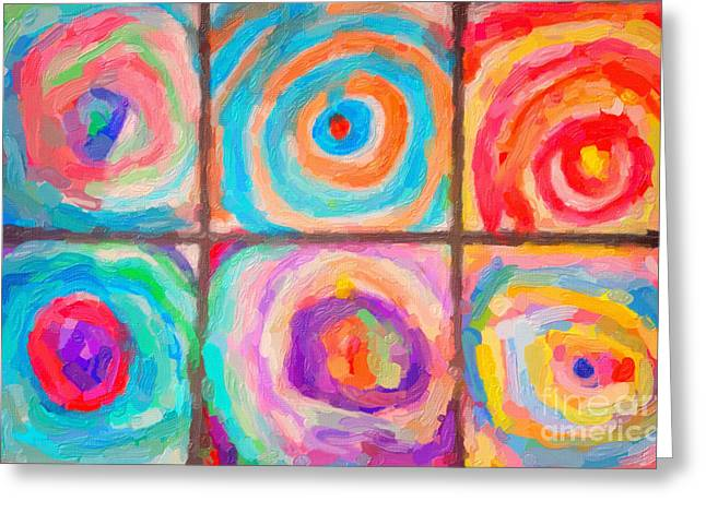 Coloured Mixed Media Greeting Cards - Spirals Greeting Card by Celestial Images