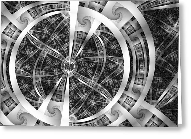 Eggleston Greeting Cards - Spirals Spokes and Curves No. 3 Greeting Card by Mark Eggleston