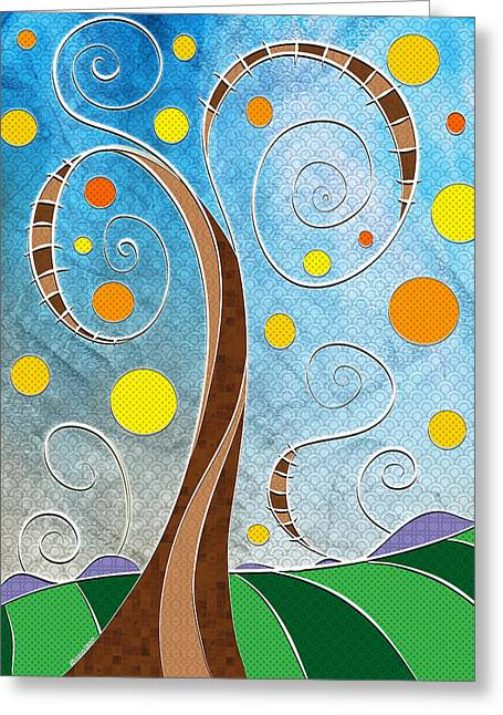 Rowe Digital Art Greeting Cards - Spiralscape Greeting Card by Shawna  Rowe