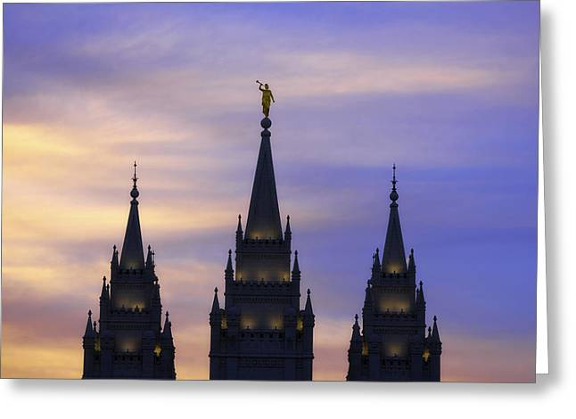 Salt Lake City - Utah Greeting Cards - Spires Greeting Card by Chad Dutson
