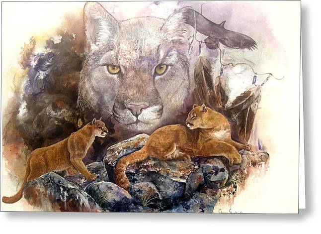 Lions Greeting Cards - Spirit Cat Greeting Card by Sherry Shipley