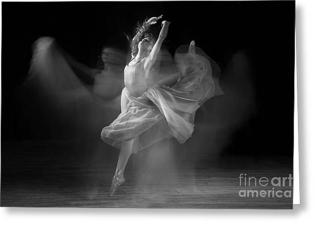 Singleton Greeting Cards - Spirit Dance in Black and White Greeting Card by Cindy Singleton
