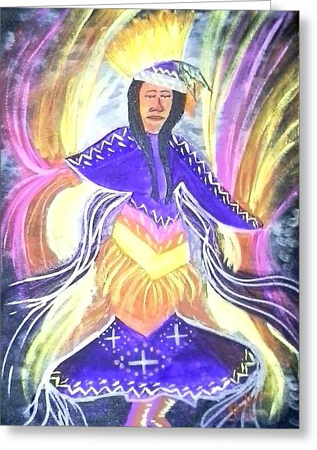 Fancy-dancer Paintings Greeting Cards - Spirit Dancer Greeting Card by Michele Moore