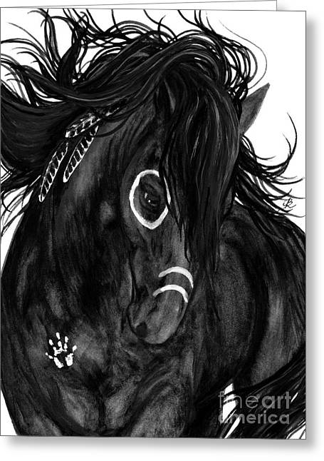 War Paint Art Greeting Cards - Spirit Feathers Horse Greeting Card by AmyLyn Bihrle