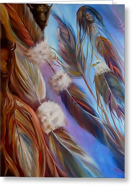Recently Sold -  - Sienna Greeting Cards - Spirit Feathers Greeting Card by Sherry Strong