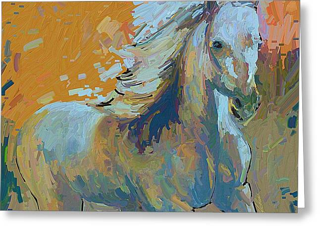 Quarter Horses Mixed Media Greeting Cards - Spirit Horse Greeting Card by Donna Johnson