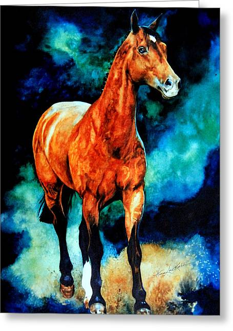 Action Portrait From Photo Greeting Cards - Spirit Horse Greeting Card by Hanne Lore Koehler