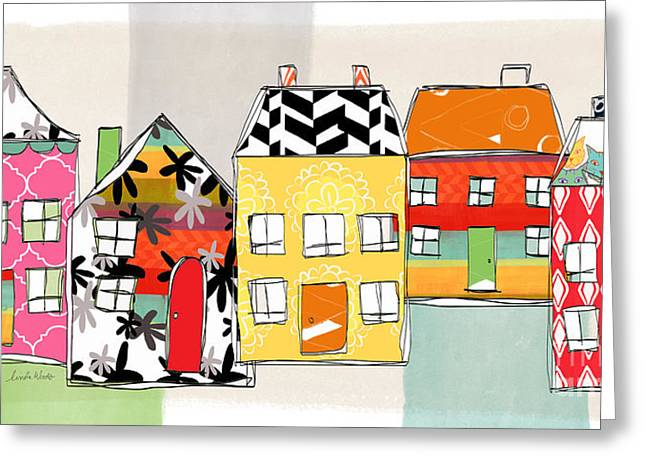 Houses Greeting Cards - Spirit House Row Greeting Card by Linda Woods